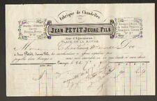 """LIMOGES (87) USINE de CHANDELLE & DENREE COLONIALE """"Jean PETIT JEUNE Fils"""" 1869"""