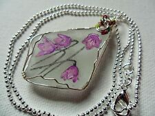"""Harebell purple wildflower necklace hand painted english sea glass 18"""" chain"""