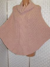 Poncho Cape Rolli Strick Zopfmuster rose rosa ca. 36-44 kuschelig made in italy