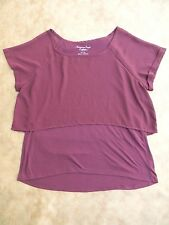 American Eagle Burgundy Layered Solid Top w/ Sheer Crop Top!! Size XL!!