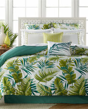 Tropical Palm Fronds Leaves Beach Queen Comforter Set (7 Piece Bed In A Bag)
