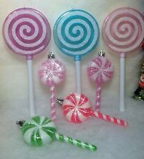 7  Lollipop Candy Christmas Tree Ornaments Pink, Purple Green
