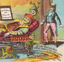 Uncle Sam 1893 Chicago Worlds Fair Marks Chair Brownies Advertising Trade Card