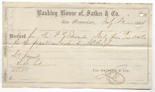 1864 Receipt from Banking House of Sather & Company San Francisco CA