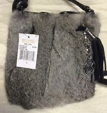 NWT Michael Kors Genuine Fur Ring Tote In Silver And Black