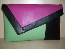 OVER SIZED BLACK, MINT GREEN & FUCHSIA PINK faux leather  clutch bag, lined BN
