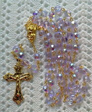 LIGHT PURPLE AB CRYSTAL ROSARY - 18K GOLD PLATED MADE IN CZECH