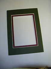 Picture Frame Double Mats ACEO size 4x6 for 2.5x3.5 forest green maroon
