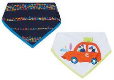 New Designer Ted Baker Baby Boys Blue White Stripe Car Dribble Bibs Newborn Gift