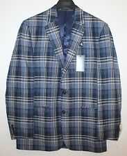 Ralph Lauren Mens Navy Blue Plaid 100% Linen Blazer Sports Coat NWT $300 44 L
