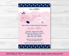 Mod Pink Whale Printable Baby Shower Invitation Editable PDF