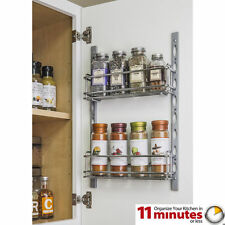 Door Mount Kitchen Cabinet Spice Rack Holder, Jar Rack, Mountable, Chrome Vanity