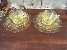 2 PLACE SETTINGS LANCASTER JUBILEE YELLOW DEPRESSION GLASS SALAD LUNCHEON PLATE