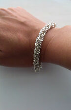 7mm SOLID.999 FINE,PURE SILVER BYZANTINE  BRACELET 34.81grams-1.12oz; 8.27inches