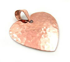 Hammered Copper Love Heart Drop Pendant