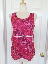 COLDWATER CREEK red ruffle sleeveless floral top size S 8