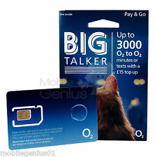 O2 BIG TALKER PAYG SIM standard/micro/nano 02 fits all iphones 4, 5, 5S, 6, 6S