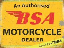 BSA MOTORCYCLE AUTHORISED DEALER OLD VINTAGE BIKE REPRO METAL GARAGE WALL SIGN