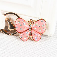 Pink Butterfly Charm Pendent Crystal Purse Bag Key Ring Chain Exquisite New Gift