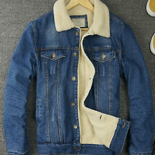 Hot Retro Mens Fur Lining Jean Fleece Jacket Single-breasted Denim Coat Outwear