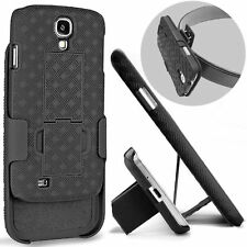 BLACK HOLSTER BELT CLIP HARD CASE COVER KICKSTAND FOR SAMSUNG GALAXY S4 I9500
