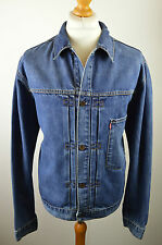 Classic men's Levi's 70501 04 mid blue red tab denim trucker jacket large 46""