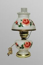 """Vintage GONE WITH THE WIND Floral Hand Painted Milk Glass Hurricane Lamp 16"""""""