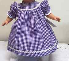 "NEW 15"" BABY DOLL PURPLE GINGHAM  DRESS & BLOOMERS ROSALINA COLLECTIONS"