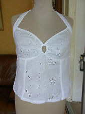 CARACO BUSTIER DOS NU LIN BRODE T 38/40  LINEN EMBROIDERED TOP size M