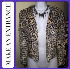 SALE! NWT LEOPARD Blazer FAUX FUR Jacket Coat Furry Animal Print Brown Black $60