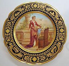 Royal Vienna Hand Painted Cabinet Plate Ornate Raised Gold Artist Signed Riemer