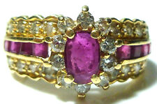 EFFY BH 14K YELLOW GOLD 1.00CT RUBY .36CT DIAMOND COCKTAIL CLUSTER RING BAND