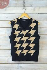 Vintage Black & Brown Chunky Dog Tooth Pattern Sleeveless Knitted Jumper (L)