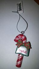 "GANZ CANDY CANE PERSONALIZED CHRISTMAS ORNAMENT ""CRYSTAL"""