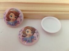 Disney Princess Sofia-Dome Image-Resin-Cabochon-Plastic- Bow Center-Pendant