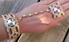 Bracelet with ring chain slave hand an aurora crystals bridal new elegant gold