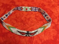 "Native American Indian Style Beaded 20"" Headband Elastic Or Western Hat Band"
