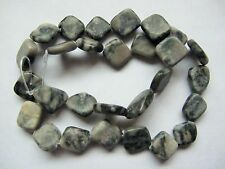 "Grey black marble diamond beads 15"" 14mm"