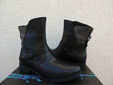 TEVA DE LA VINA BLACK/ GRAY WATERPROOF LEATHER ANKLE BOOTS, US 7/ EUR 38~ NIB