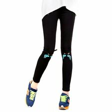 US Ladies Girls Cute Cat Knee Embroidery Leggings Casual Stretchy Sports Pants