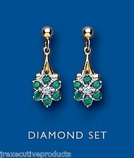 9ct Yellow Gold Real Emerald and Diamond Cluster Drop Earrings