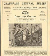93 SAINT-OUEN CHAUFFAGE CENTRAL SULZER PUBLICITE 1934