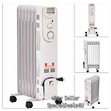 Radiator Heater Electric Portable Space Adjustable Thermostat Oil Filled 1500W