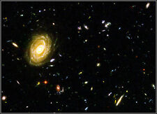 Poster Print: Hubble Deep Field: Farthest Known View Of A Spiral Galaxy