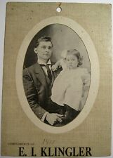 Antique Photo Baby Girl With Dress & Father Young Men Compliment of E I Klingler