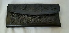 Tooled Mexican leather ladies wallet,  credit card wallet, clutch purse,  Floral