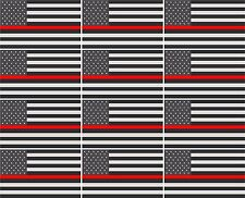 "12 - 2""x1.2"" Thin Red Line American Subdued Flag Decal United States Hard Hat RH"