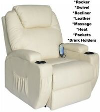 Cream Leather Heat Massage Swivel Armchair Recliner Chair Arm Chairs Recliners