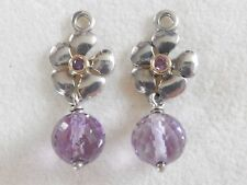 PANDORA ST.SILVER & 14ct.GOLD FLOWER COMPOSE AMETHYST EARRINGS - 290620AM