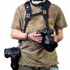 New Double Dual Shoulder Belt Strap Holder for DSLR Camera Canon Nikon Sony UK
